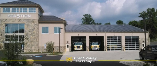 FronEast Whiteland Fire station in Pennsylvania with a Great Valley Lockshop van in front.