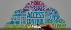 A cloud of words related to cloud technology and access control.
