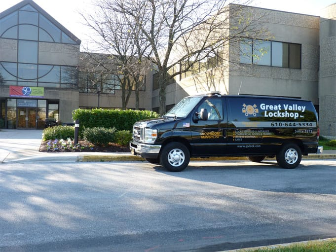 Locksmith arriving at commercial facility