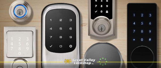 different smart lock types laid on a table
