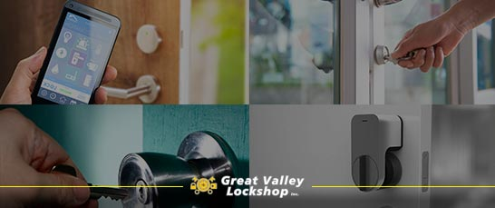 Collage of images showing traditional keyed locks and smart locks.